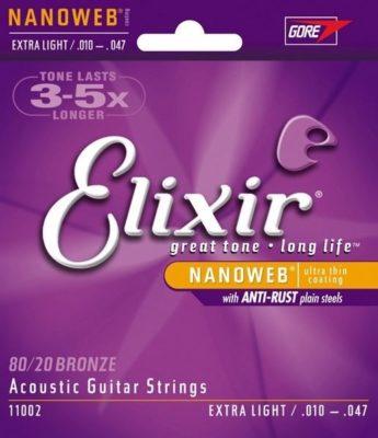 Elixir Nanoweb 11002 Extra Light 80/20 Bronze