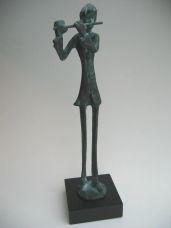 Dwarsfluitist staand op voet - Brons