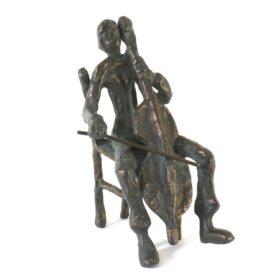 Cellist op Stoel - Brons