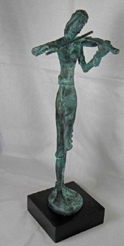 Violiste staand op voet - Brons L