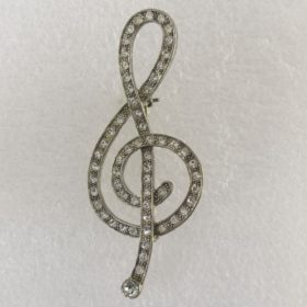 Broche: G-Sleutel Silver met Strass