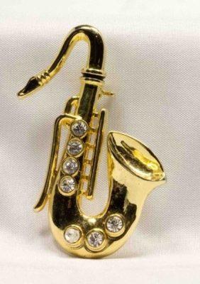 Broche: Saxofoon 5 + Strass